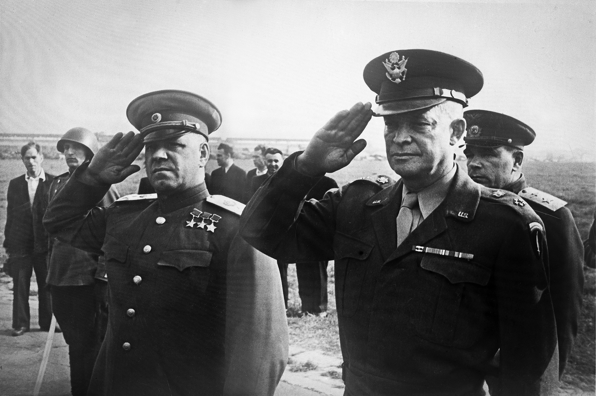 Marshal Georgy Konstaninovich and General Dwight D. Eisenhower at a rendition of the USSR and USA national anthems during Eisenhower's Moscow visit