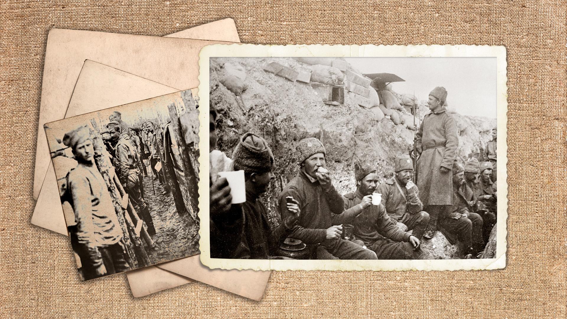 Първата световна война (1914-1918). Войници от руската армия в окопите в прекъсване между сраженията. 30 април 1917 г.