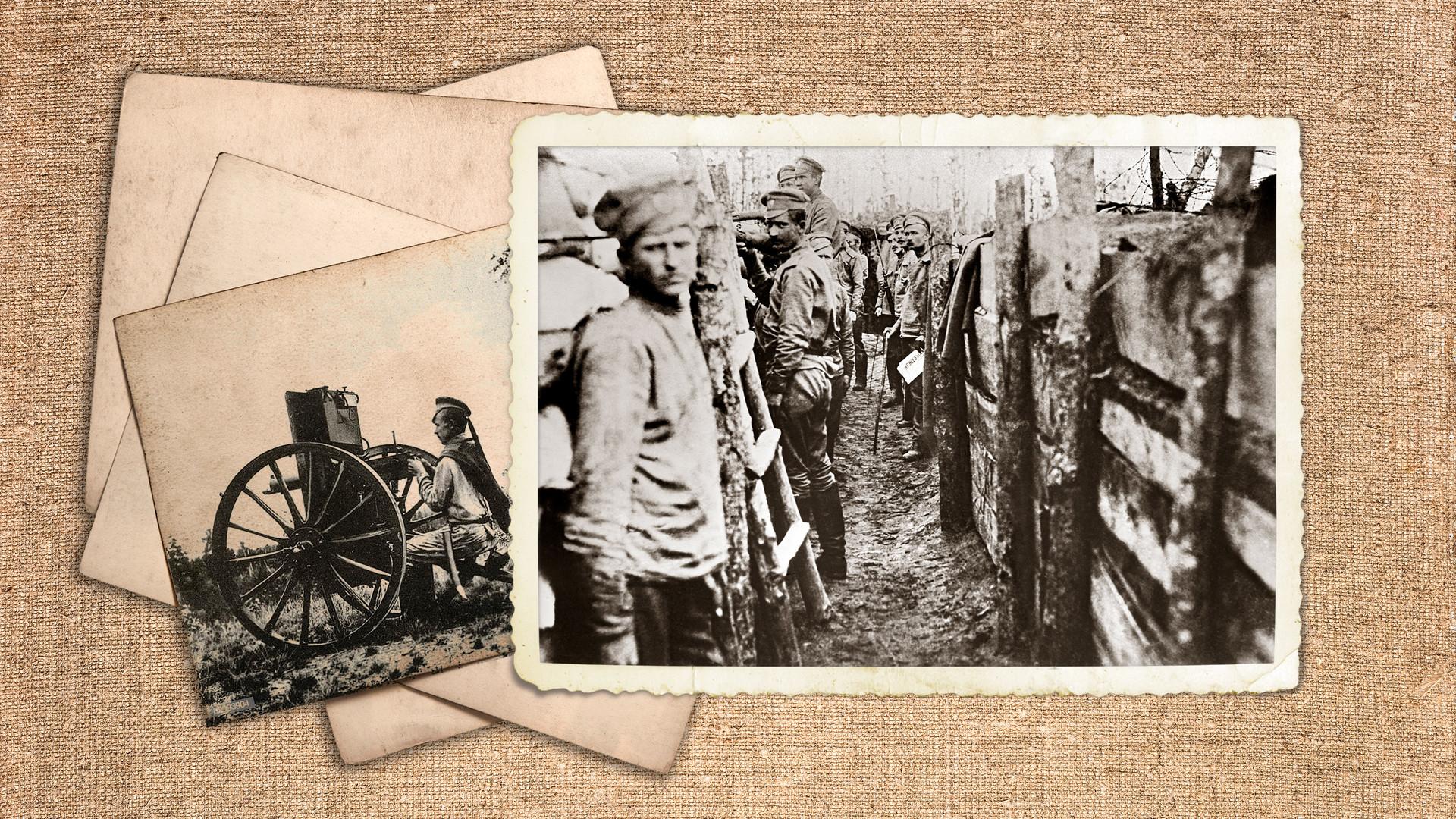 Руски войници в окопите на първата линия на сраженията при Паневежската жп линия на Двинския фронт. (1914-1918 г.)