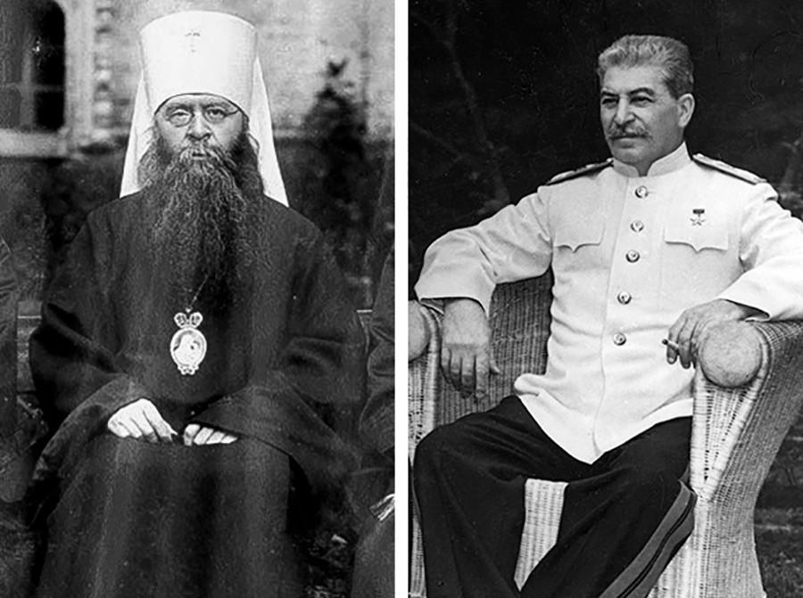 Patriarch Sergius (left) and Joseph Stalin.
