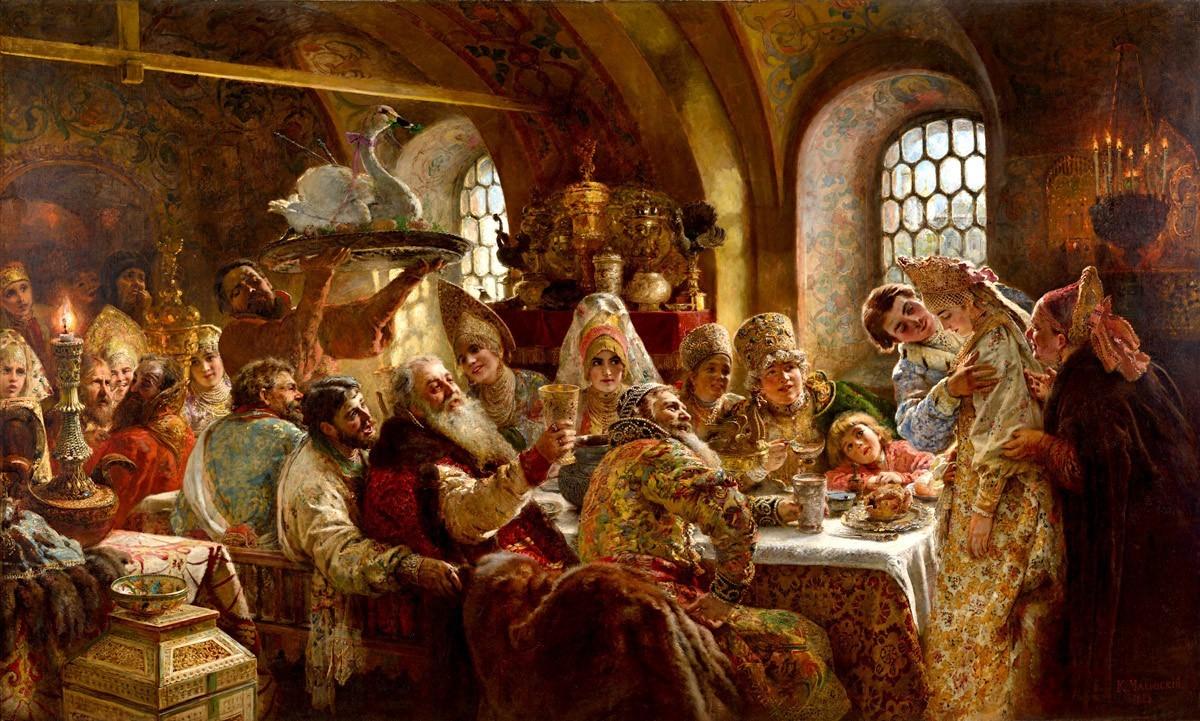 Bojarjevo poročno slavje, Konstantin Makovski, 1883. Na sliki je postrežen tudi ocvrt labod.