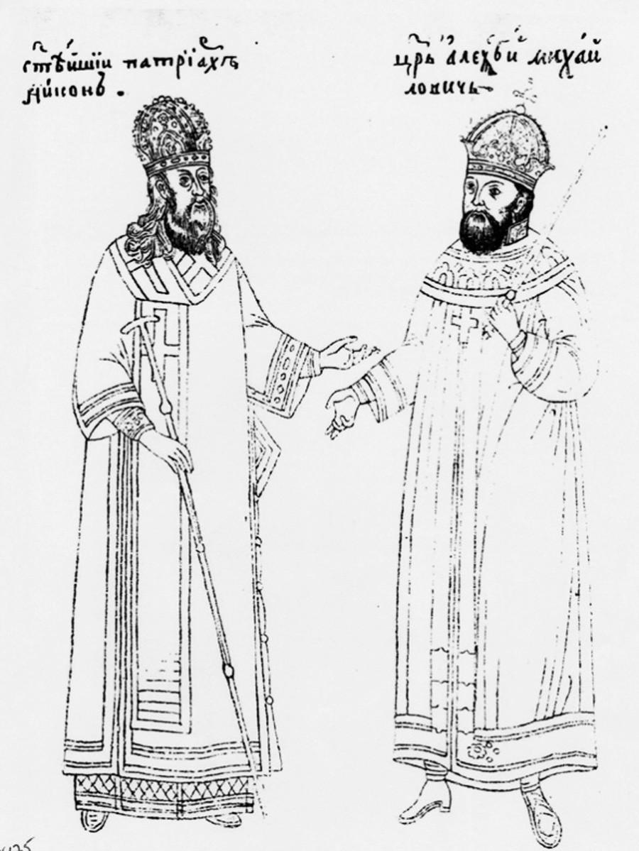 Патријарх Никон (лево) и цар Алексије (десно). Минијатура из 17. века.