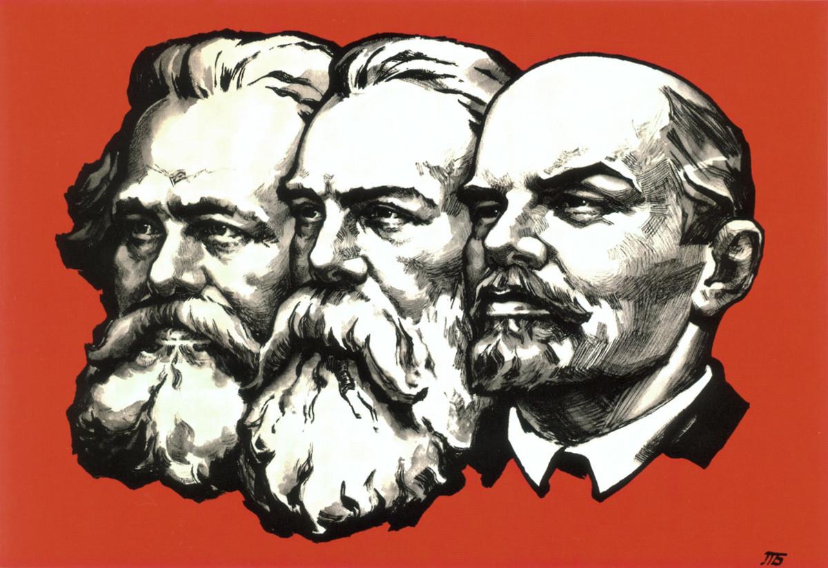 Карл Маркс, Фридрих Енгелс и Владимир Лењин: совјетска застава.