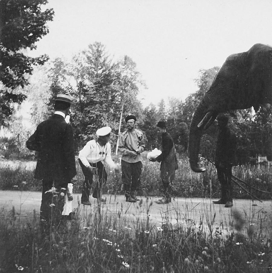 El zar Nicolás II y su elefante favorito.