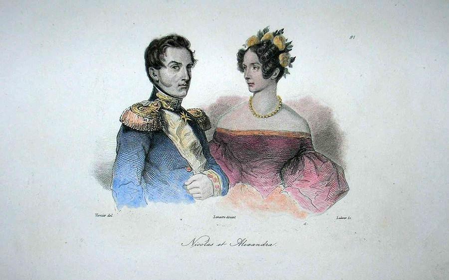 Николай I  (1796 – 1855) со своей женой Александрой Федоровной (1798 – 1860)
