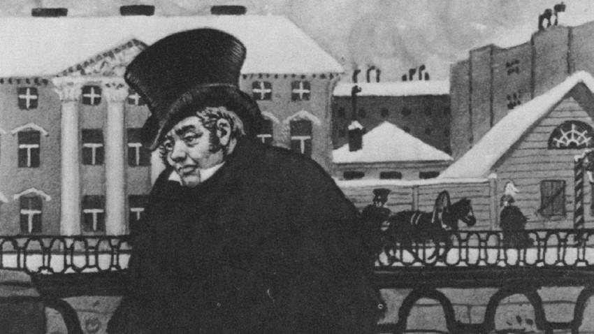"""Ilustração de Akáki Akákievitch, protagonista de """"O capote"""""""