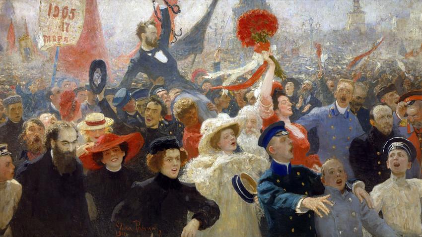 """""""Demonstração de 17 de outubro de 1905"""", Iliá Répin, 1907."""