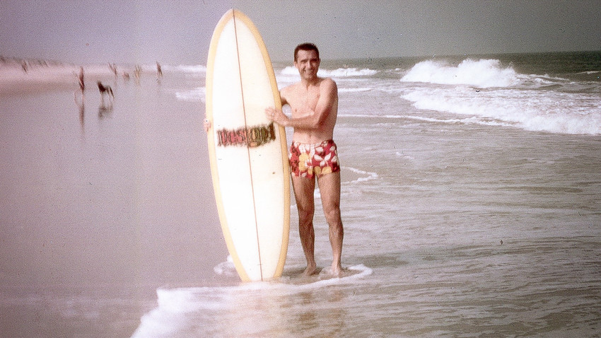 Nikolai Popov on his favorite surfing spot. Indian River Inlet, Maryland (1972-1974)