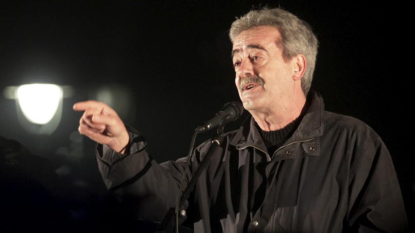 Булатовић током анти-НАТО протеста у Подгорици