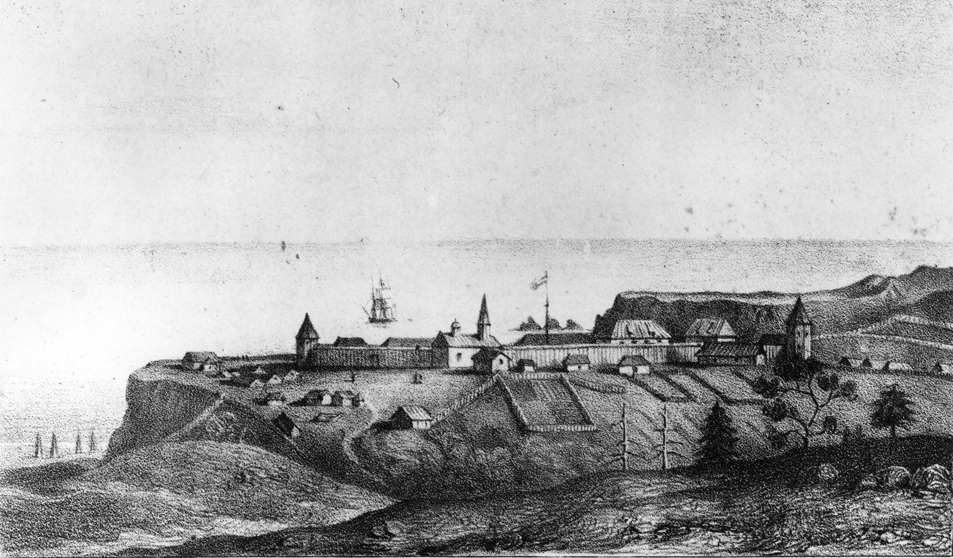 Fort Ross, na Bodega Bay, em 1828.