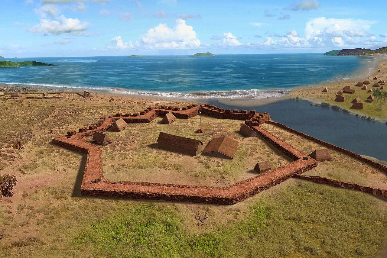 O forte Elizabeth (Kauai, Havaí) visto do alto.
