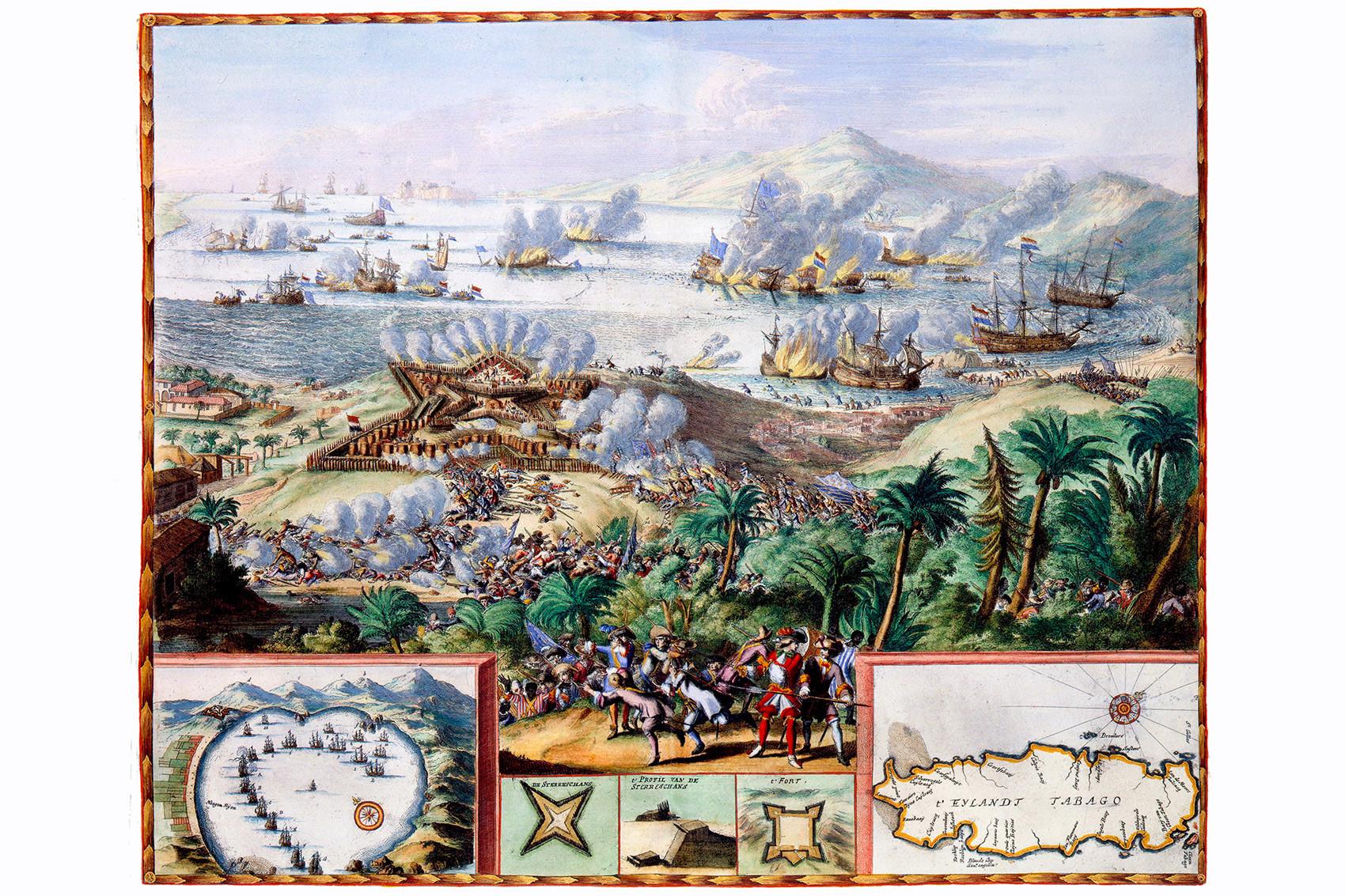 Tobago, por Von Romeyn de Hooghe, Amsterdã 1677.