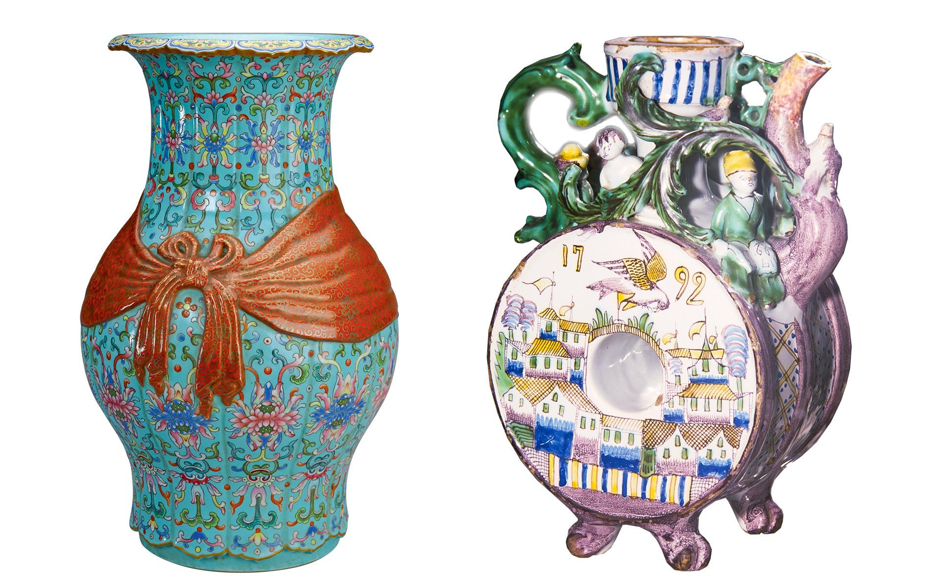 Слева: Ваза баофу. Эпоха Цин, правление Цяньлун (1736–1796). Справа: Кувшин. Майолика, XVIII век.