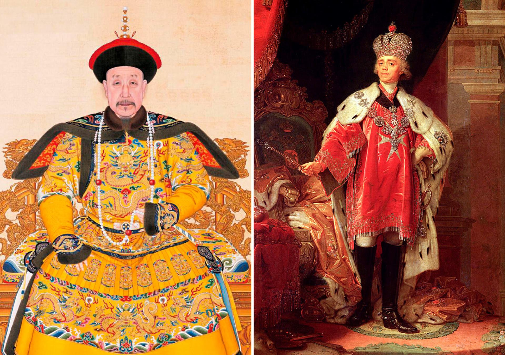 Слева: Портрет императора Цяньлуна в парадном одеянии. Эпоха Цин, правление Цяньлун (1736–1796). Справа: Владимир Боровиковский. Потрет Павла I в коронационном костюме