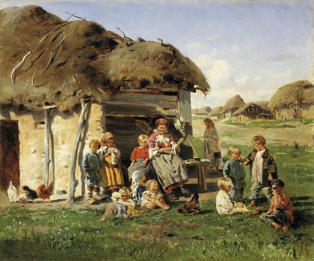 V. Makovsky. Anak-anak petani. 1890.