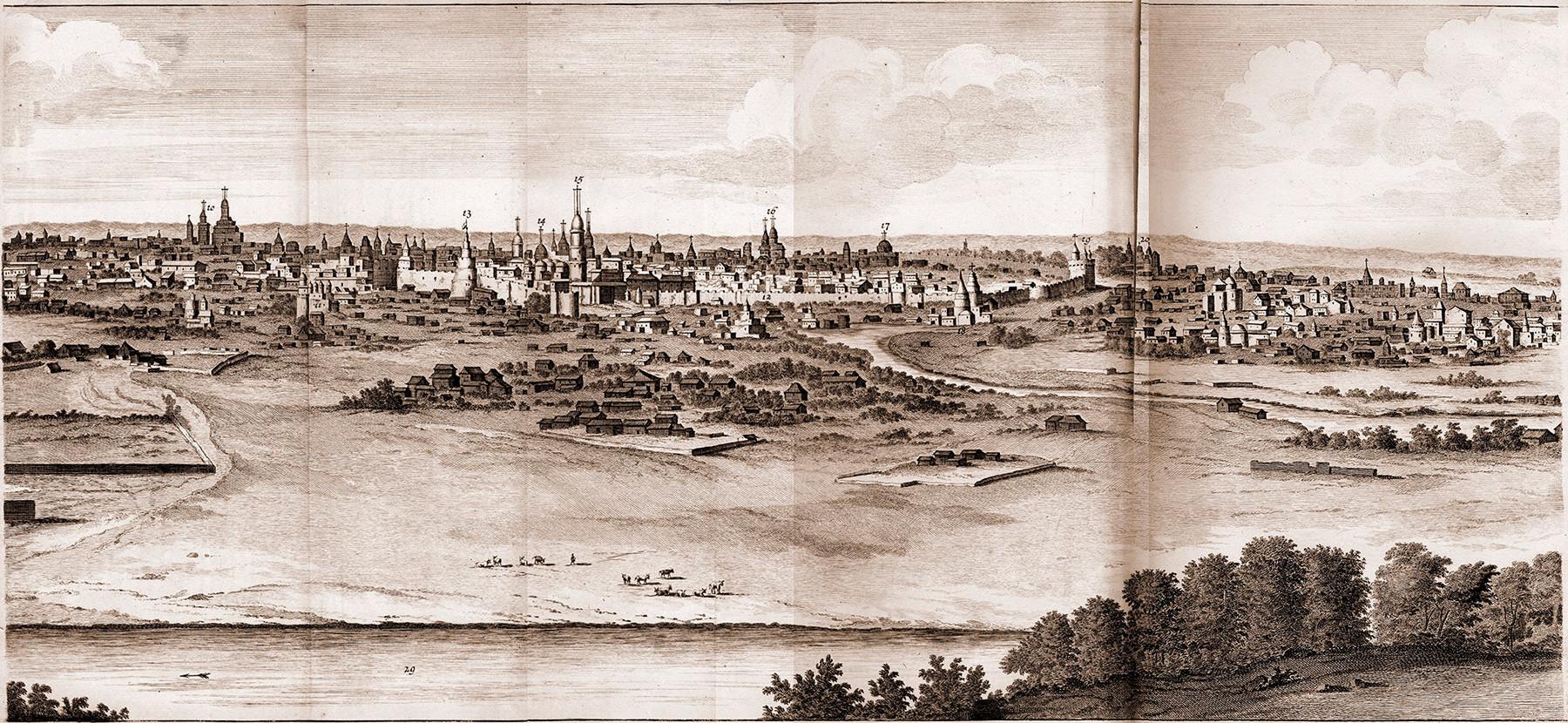 雀が丘からモスクワを一望したもの。1702年の絵がもとになった版画は1714年に出版。