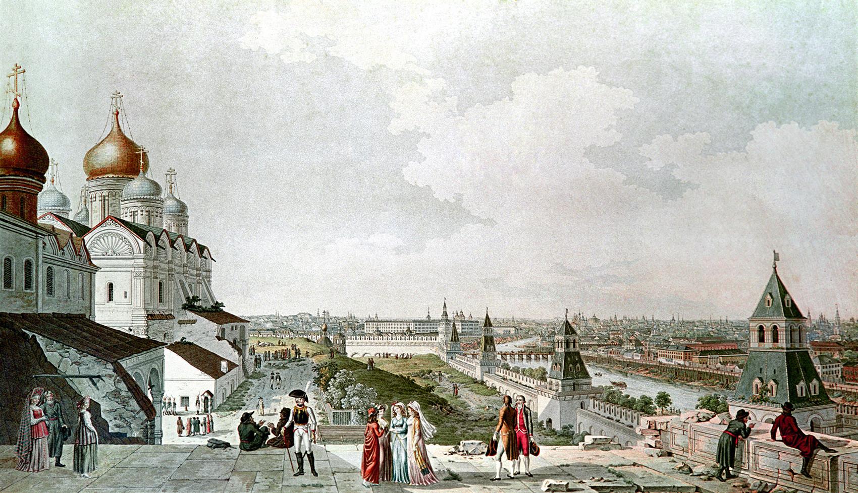 1800年代、ジェラール・デラバルトの絵画のもとで不明な画家によって作られた版画。皇帝の宮殿のバルコニーから見たモスクワの景色。国立歴史博物館、モスクワ。