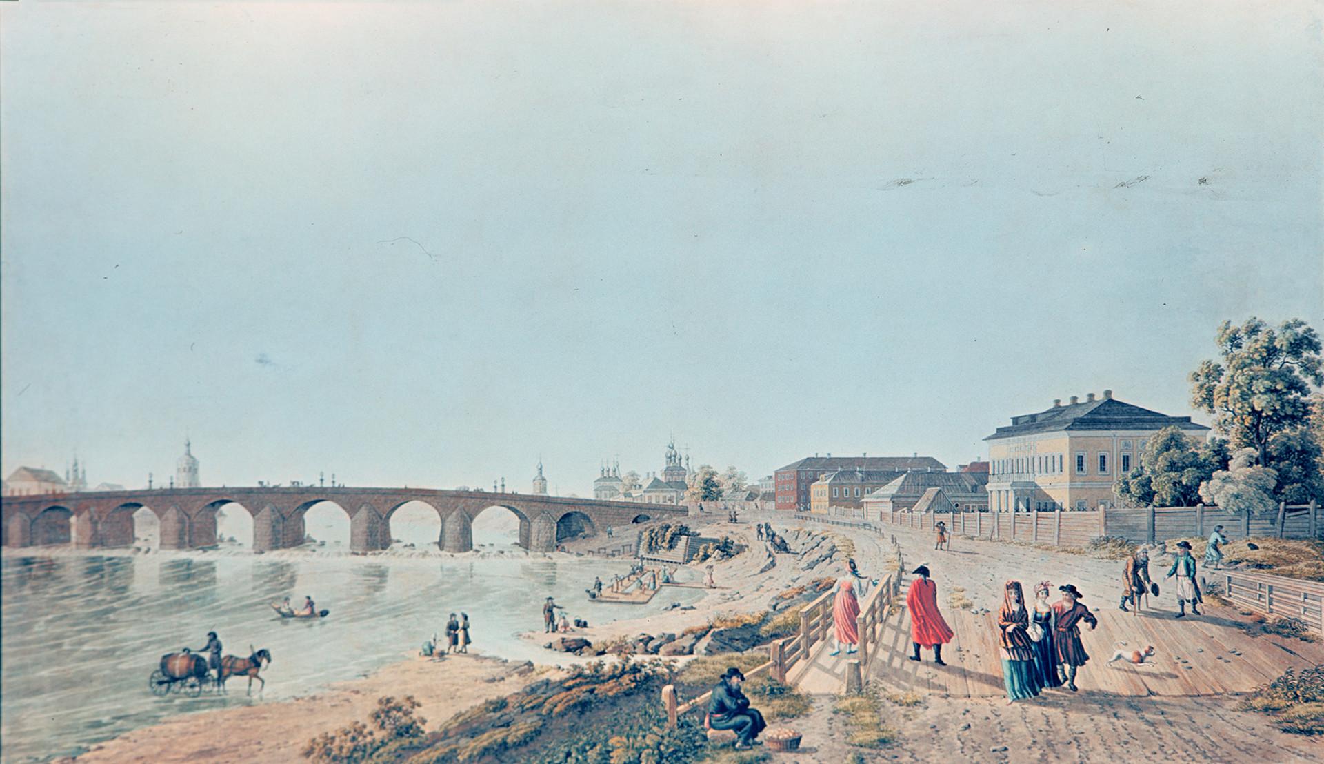 「モスクワの石橋とその周辺。木造の歩道橋とナウゴリナヤ塔から見た景色。デラバルトの1796年の絵をもとにG.ロリーによって作られた銅版画。