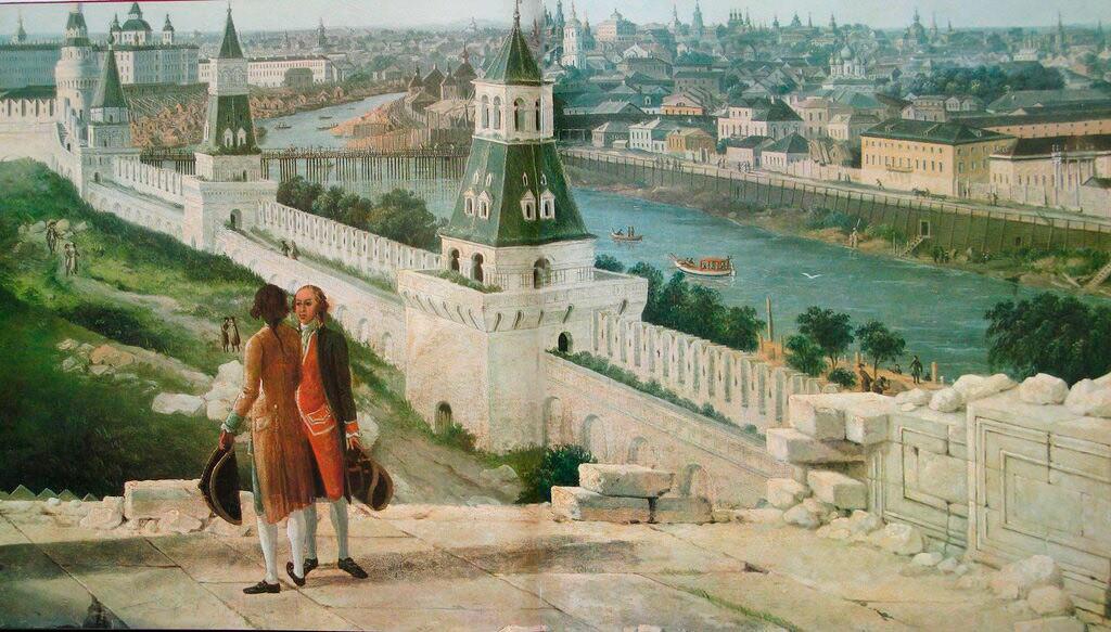 クレムリンの宮殿のバルコニーからみるモスクヲレツキー橋。1797年。デラバルトの絵のもとで作られたF.ロリエ (あるいはM.エイフレル)の版画。