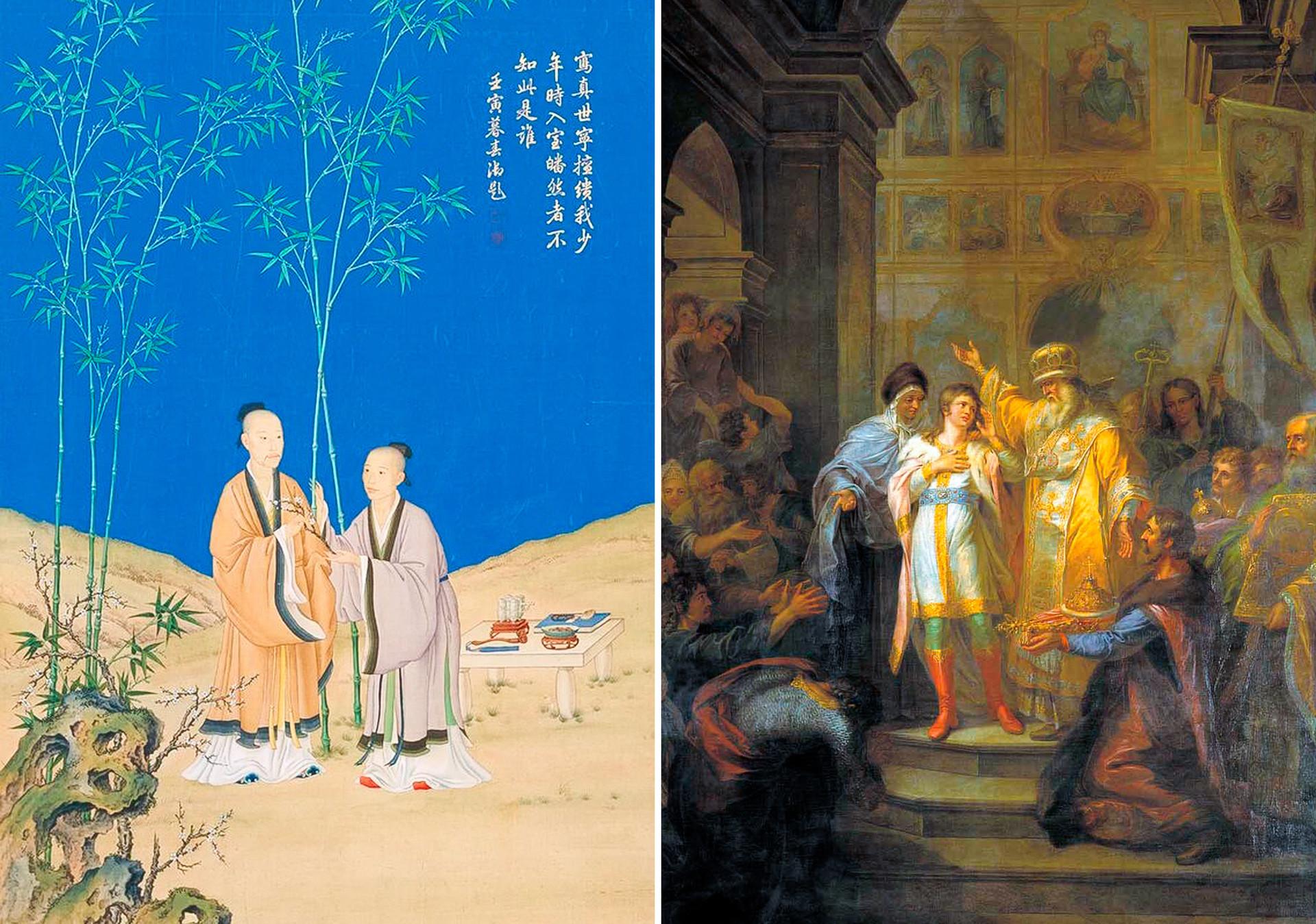 Вляво: посланието на спокойната пролет. Джузепе Кастильоне (Лан Шинин). Династията Цин (1736-1796). Вдясно: Избор на Михаил Фьодорович за руски цар на 14 март 1613 г.