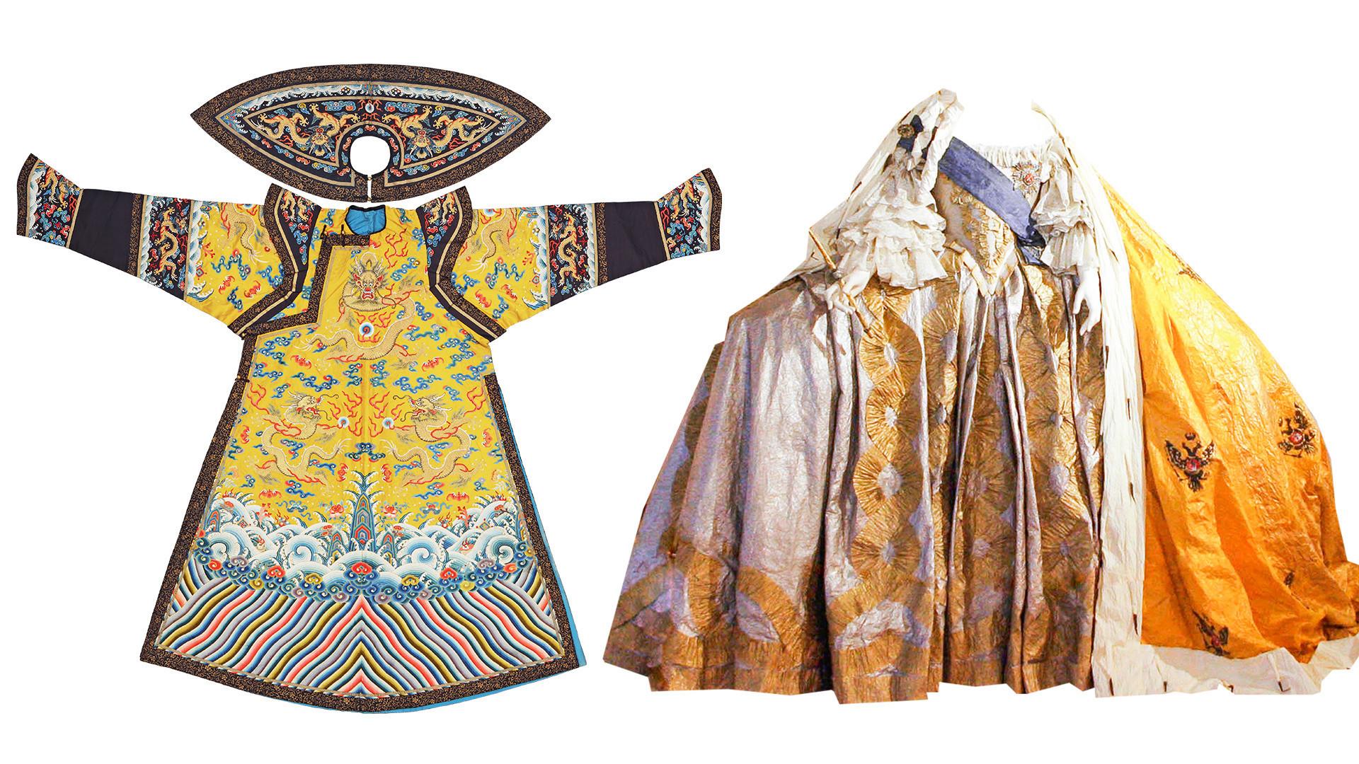À esquerda, o grande manto da Imperatriz chinesa da era Quing. À direita, o vestido de coroação de uma das imperatrizes russas.