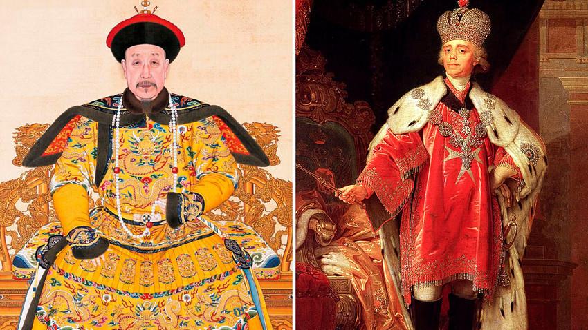 À esquerda, eetrato do Imperador Qianlong da China, que reinou entre 1736 e 1796. À direita, retrato do imperador Pável 1° da Rússia, que reinou entre 1796 e 1801, em suas vestes de coroação.