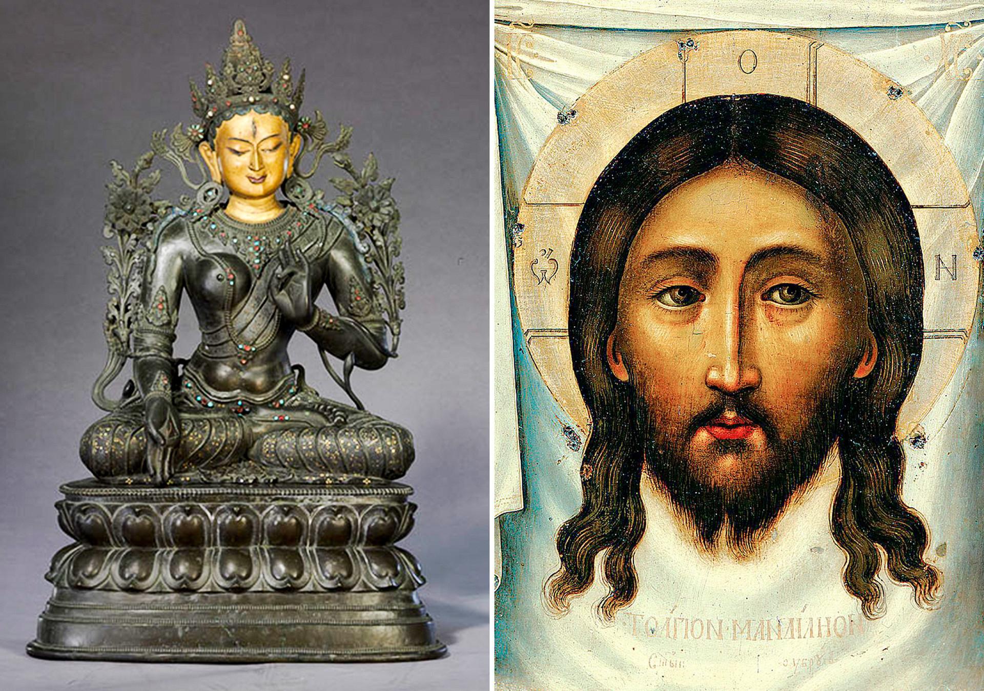 À esquerda, estátua de Tara Branca do período de Qianlong. À direita, um ícone russo de Jesus de 1677.