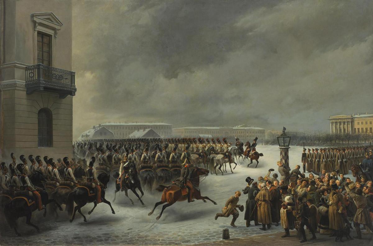 """""""Regimento da Cavalaria de Guarda Durante a Revolta de 14 de dezembro de 1825 na Praça do Senado"""". Georg Wilhelm Timm."""