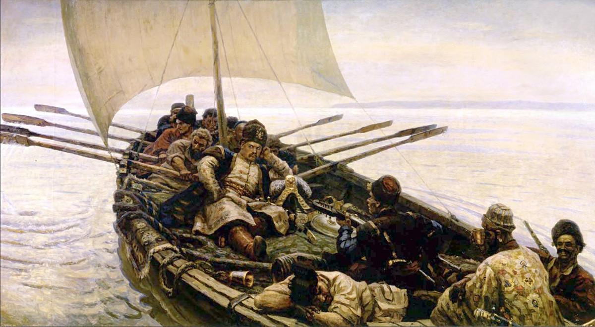 ヴァシーリー・スリコフ。「スチェパン・ラージン」(1907年)。画布、油彩。国立ロシア美術館。
