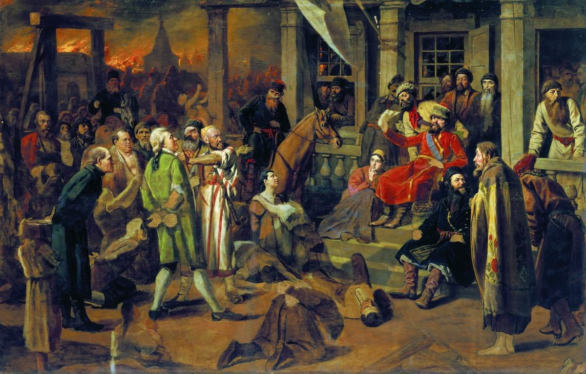 ヴァシリー・ペロフ。「プガチョフの裁判」(1875年)。