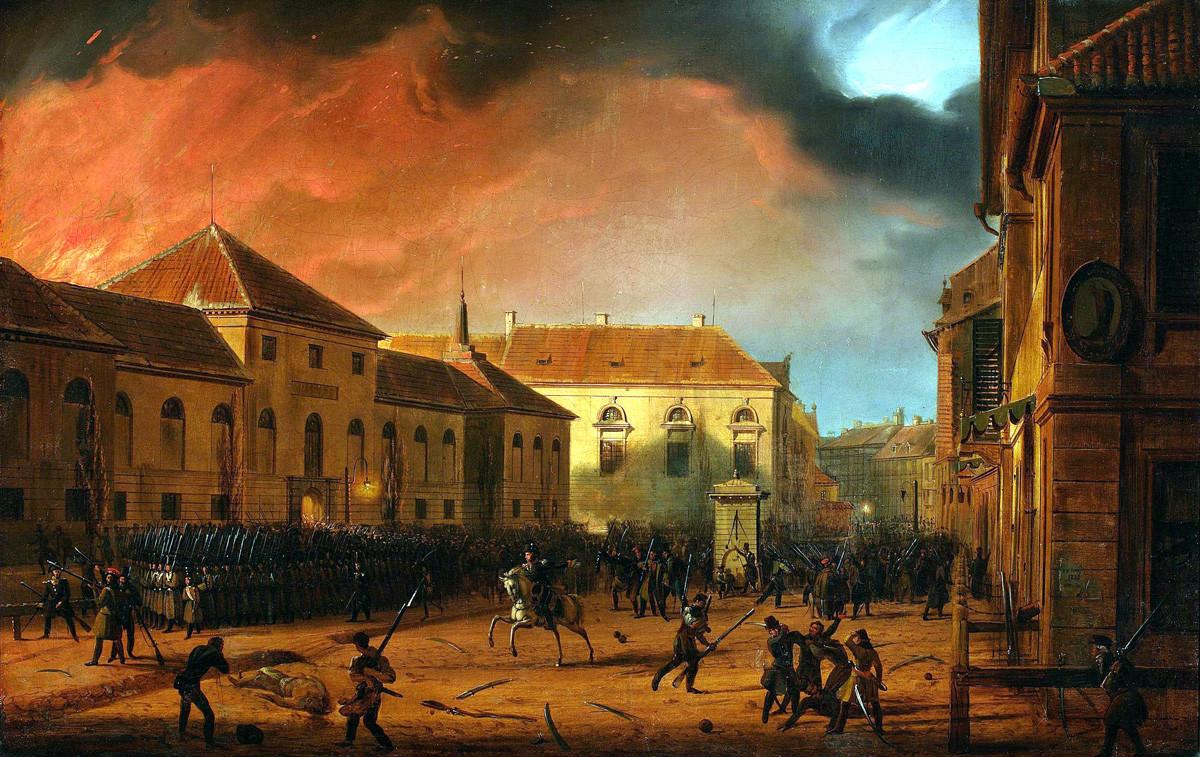 マルツイン・ザレスキ。「ワルシャワでの兵器工場の攻撃」(1831 年)。