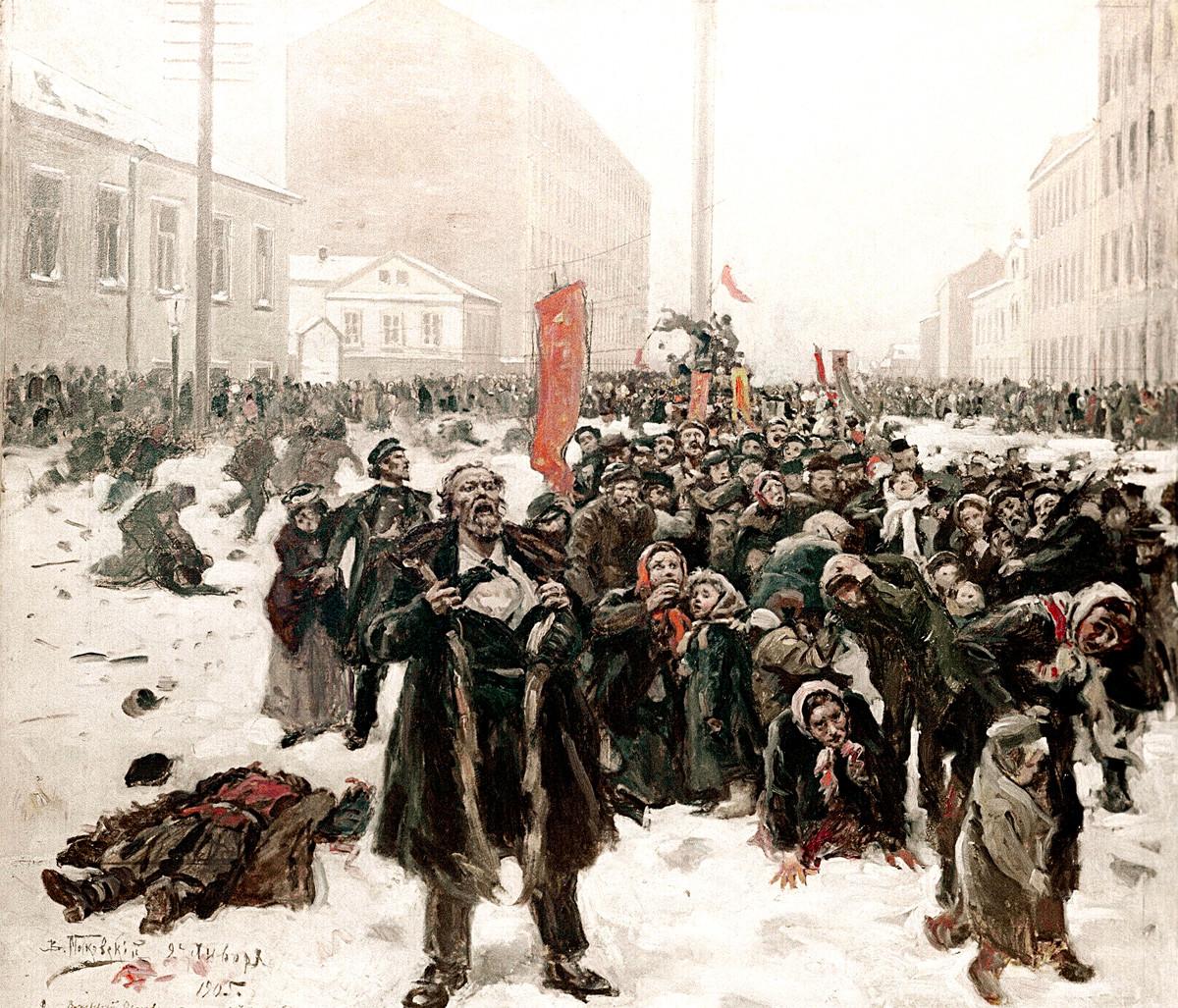 'El 9 de enero de 1905 en la isla Vasílievski', obra de Vladímir Makovski.