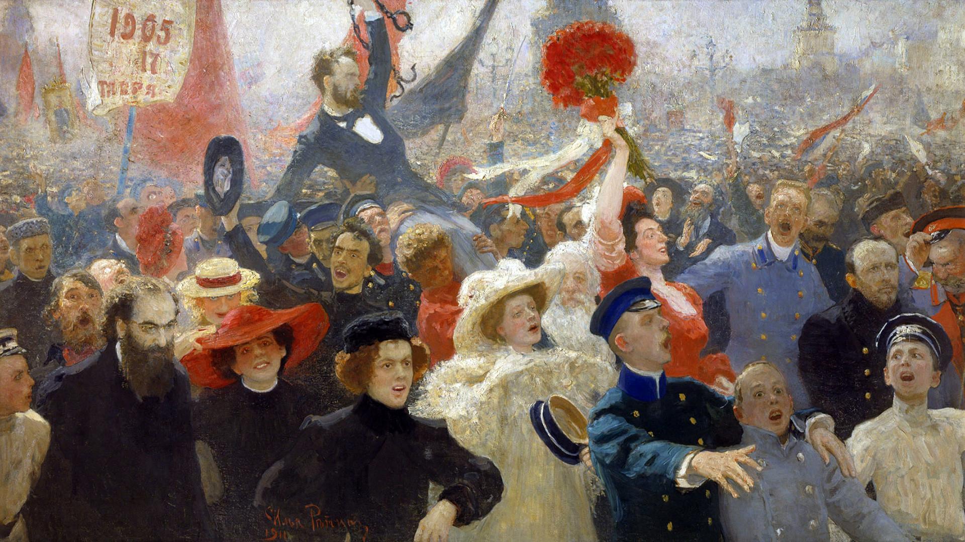 'El 17 de octubre de 1905', obra de Iliá Repin, 1907.