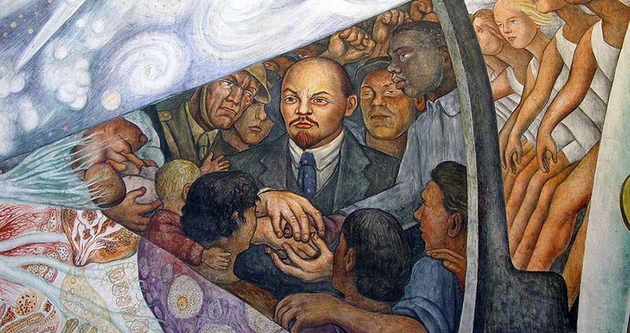 """Lenin mit den Arbeitern vom Gemälde """"Der Mensch kontrolliert das Universum"""""""