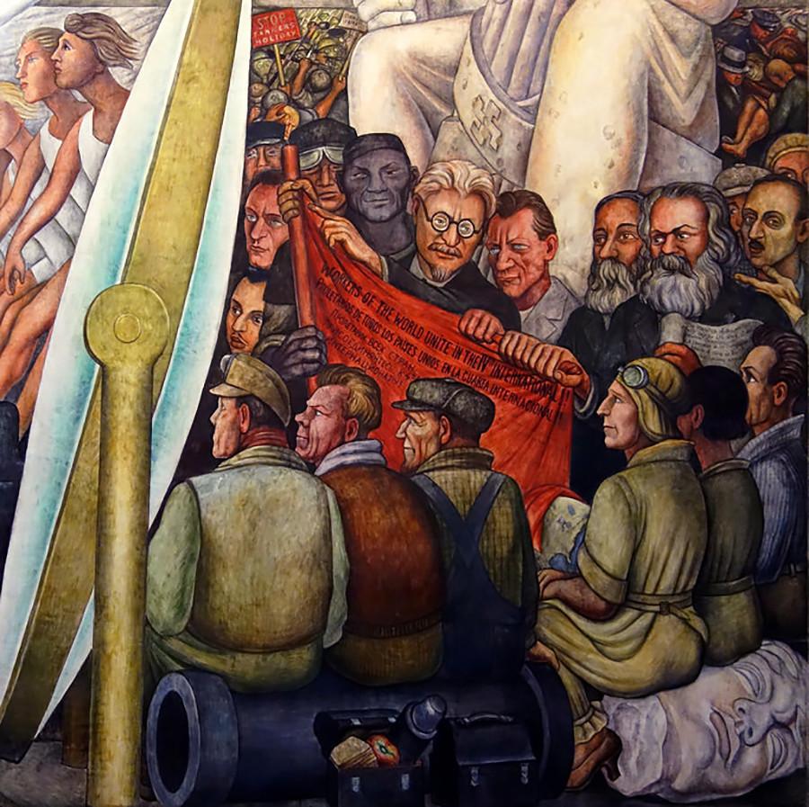 """Trotzki, Engels und Marx vom Gemälde """"Der Mensch kontrolliert das Universum"""""""