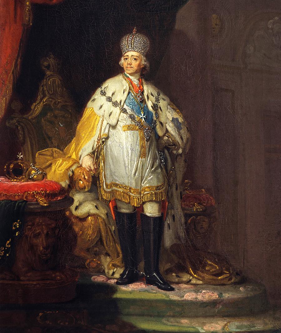 オコジョのマントを着たパーヴェル1世の肖像画。