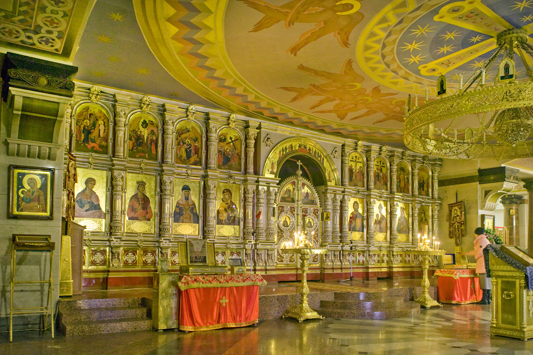 Church of All Saints Resplendent in the Russian Land. Interior view of lower church dedicated to the New Martyrs and Witnesses of the Russian Church. April 3, 2017.