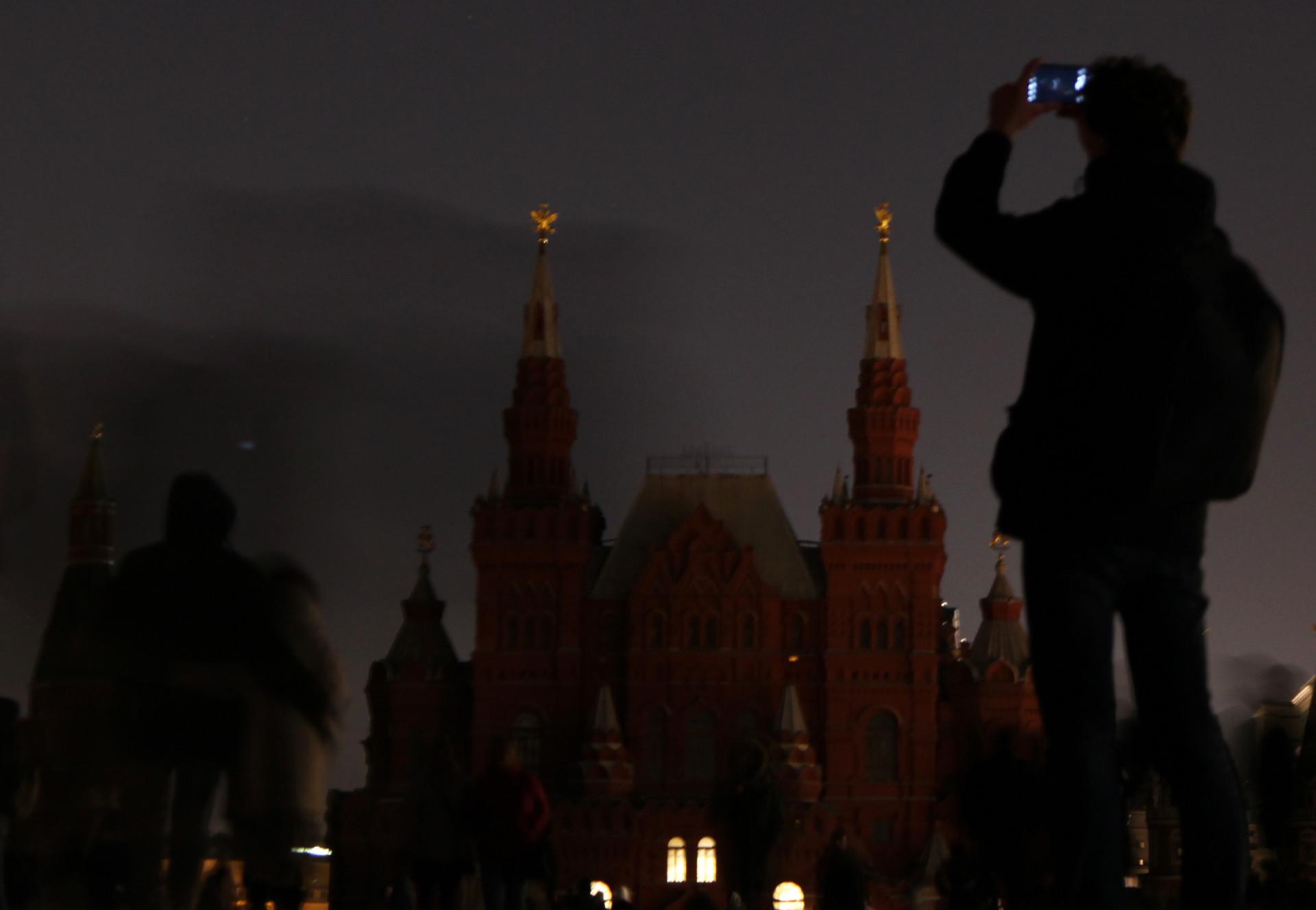 Museum Sejarah Rusia saat pemadaman lampu.