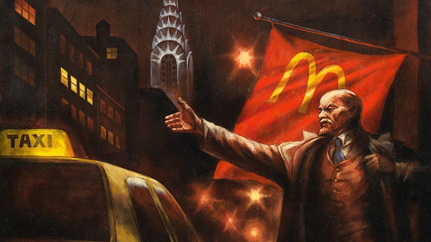 レーニンがニューヨークでタクシーを呼んでいる。「記念碑のプロパガンダ/レーニンの墓」シリーズより、1993。