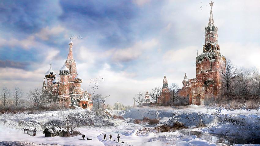 """""""Such Images"""" oleh Vladimir Manyukhin, seorang seniman Rusia, dengan jelas menunjukkan seperti apa dunia setelah perang nuklir."""