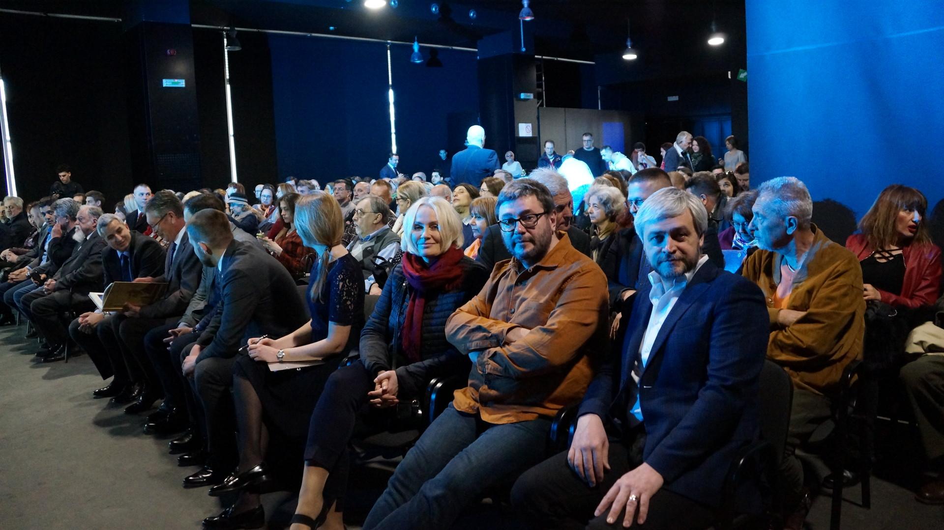 Јелена Громова, Алексеј Бурикин и Сергеј Зајцев на премијери филма у Београду