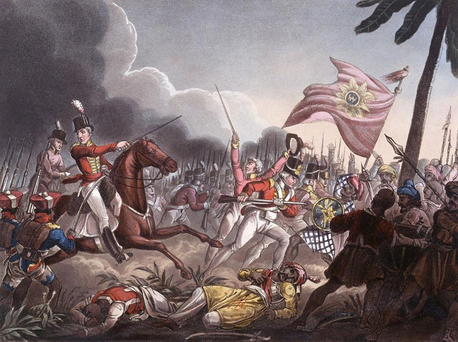 Tropas da Companhia das Índias Orientais na Batalha de Assaye (1803).