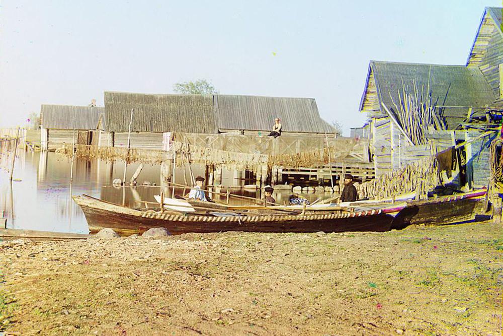 Vila de pescadores no lago Seliger. 1910