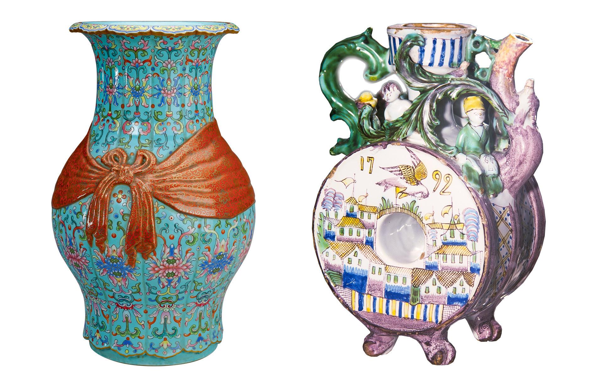 """Лево: Баофу ваза. Династија Ќинг, владеење на Чијанлонг (1736-1796). Десно Врч. Мајолика, 18 век. Изложба """"Гжељ. 650 години"""" во Централниот дом на уметниците во Москва."""