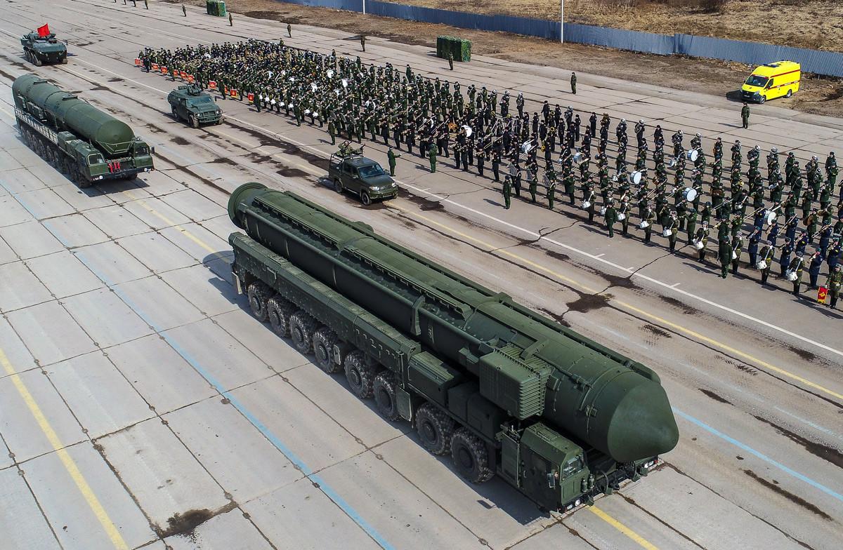 Misil balístico intercontinental ruso Yars en Alábino.