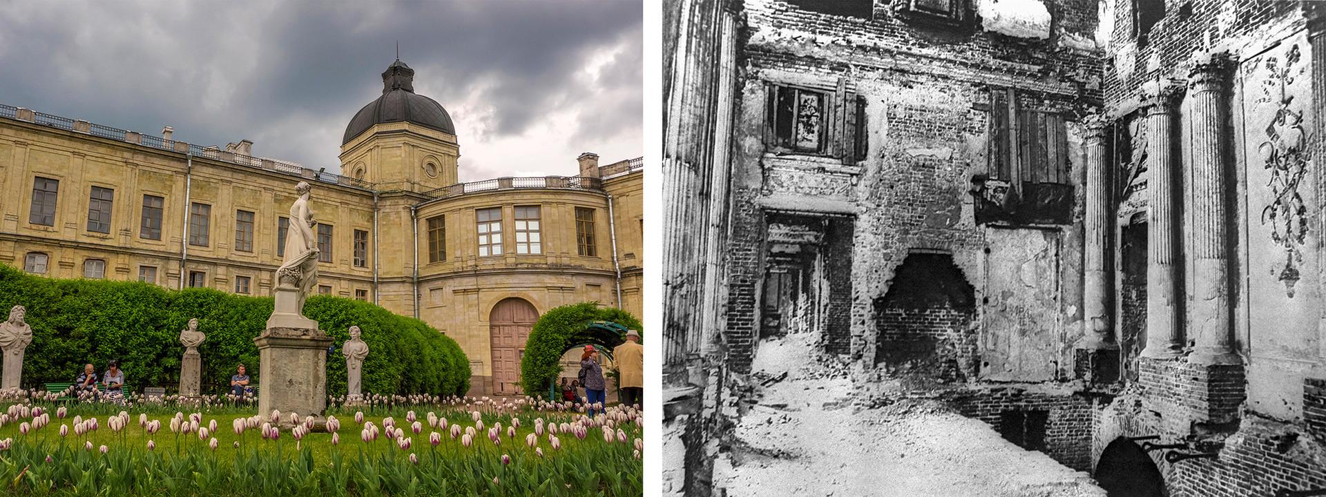 右:ガッチナの大宮殿。左:1944 年。ドイツ軍によって崩壊されたガッチナ宮殿の大理石の食堂。