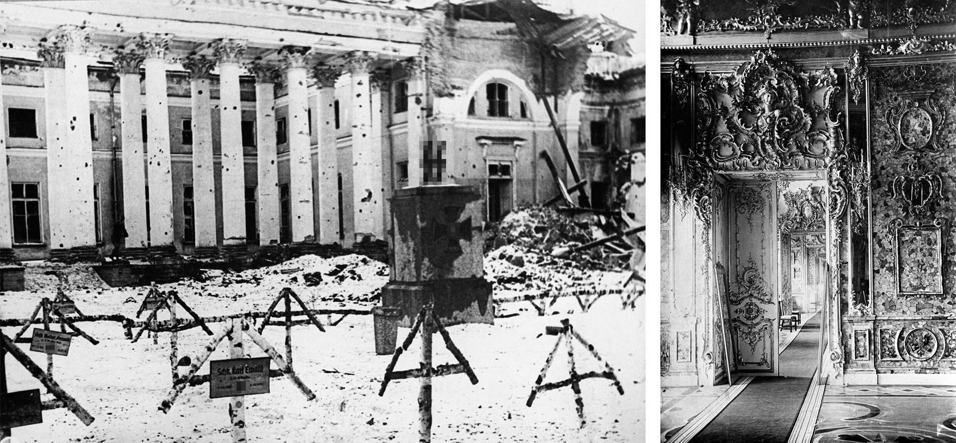 (L) The Alexander Palace in Tsarskoe Selo, near Leningrad (now St. Petersburg) after the liberation of the town by the Soviet troops; (R) The Amber Room of Catherine Palace before World War II
