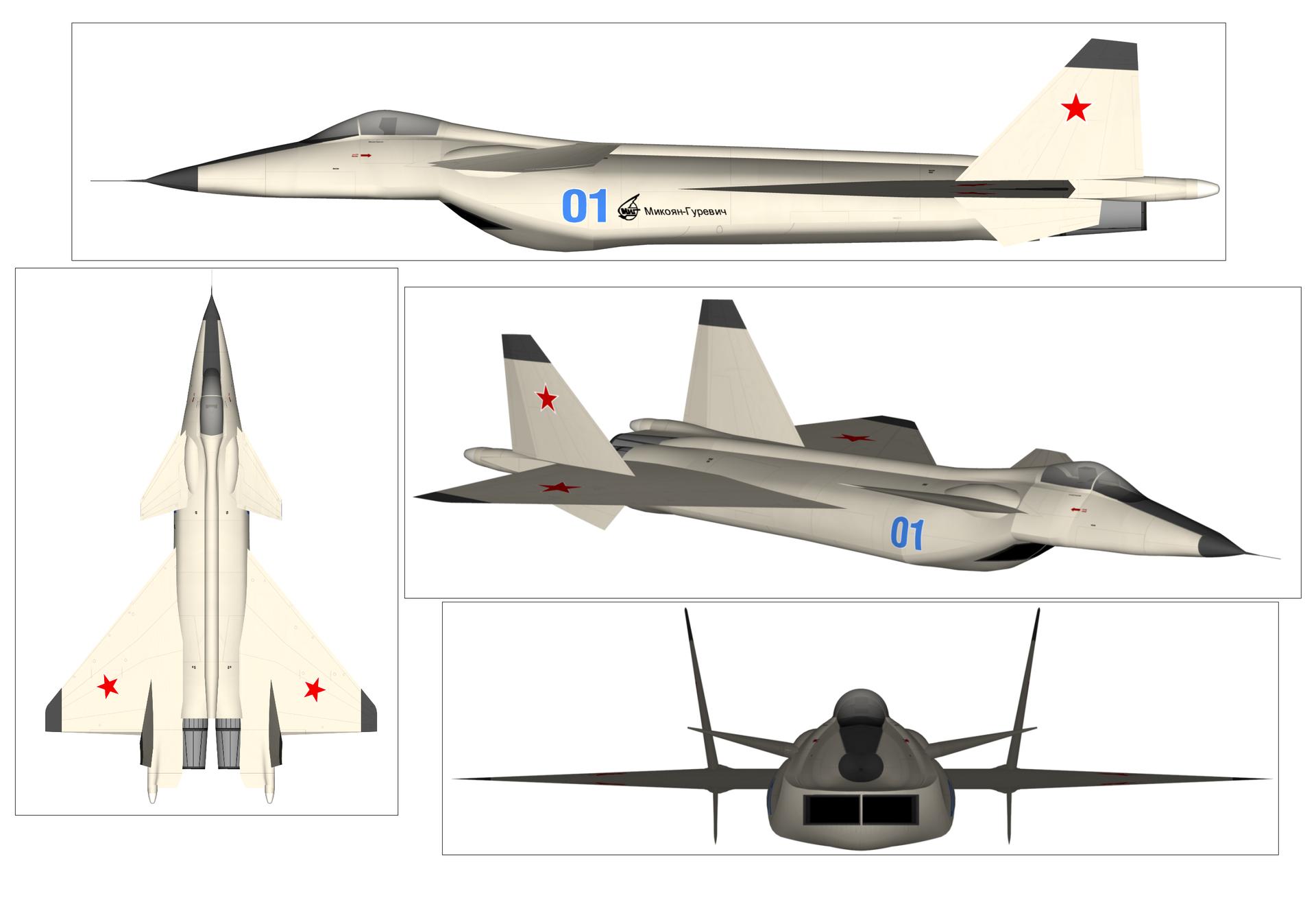 Imagem em três vistas do MiG 1.44