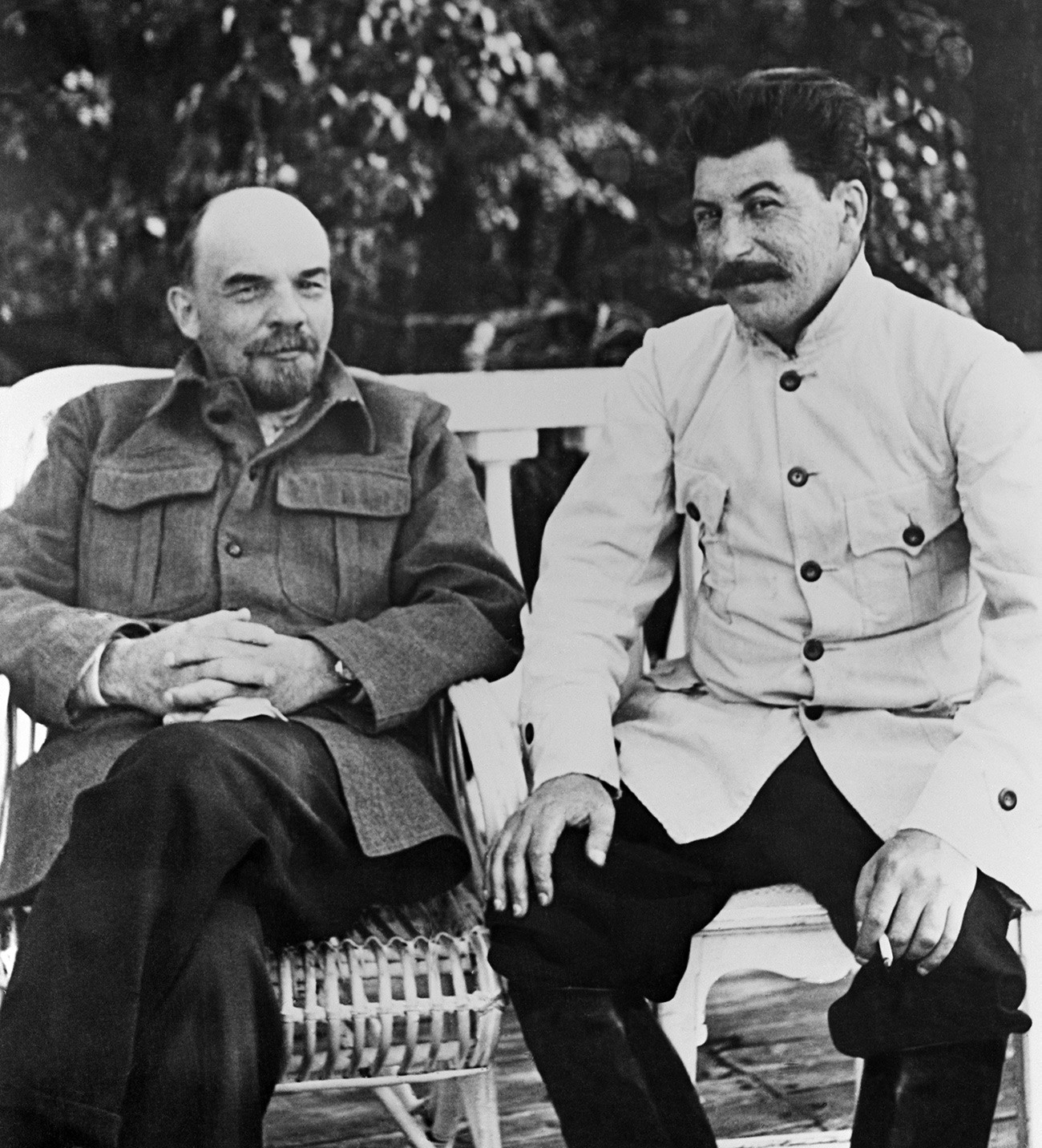 Joseph Stalin and Vladimir Lenin in the countryside.