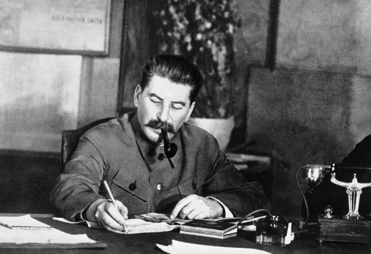 Stalin at work, maybe masterminding some dreadful plans.